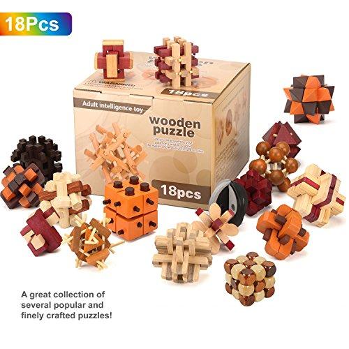 Gracelaza 18 Pezzi Rompicapo Puzzle Giocattoli di Legno - 3D Puzzle di Legno - Gioco di Puzzle di Legno - Giocattolo e Regali Ideali per Bambini e Ragazzi