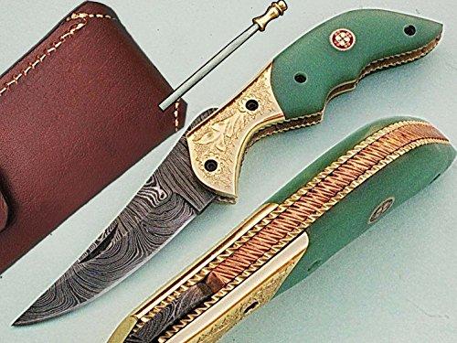 faite à la main 18 cm Awesome couteau de poche pliant des véritables Acier de Damas avec manche G10 Matière Mitres et gravée : (Bdm-78) (Legal au transport)