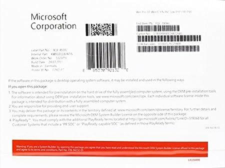 Microsoft Window's 10 Prefessional 32 Bit English, OEI DVD (PC)