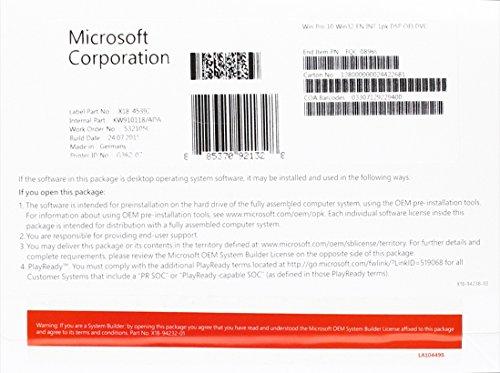 Microsoft Windows 10 Pro - Sistemas operativos (Original Equipment Manufacturer (OEM), Full...