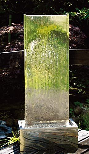 Köhko Springbrunnen Muro I Höhe ca. 95 cm mit LED-Beleuchtung aus Edelstahl Wasserwand Wasserspiel für Garten Terrasse