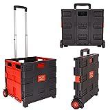NOVESTE Einkaufstrolley Klappbar Einkaufswagen bis 35KG, mit Rollen, Verstellbarer Griff (Ohne Deckel, Schwarz-Rot)
