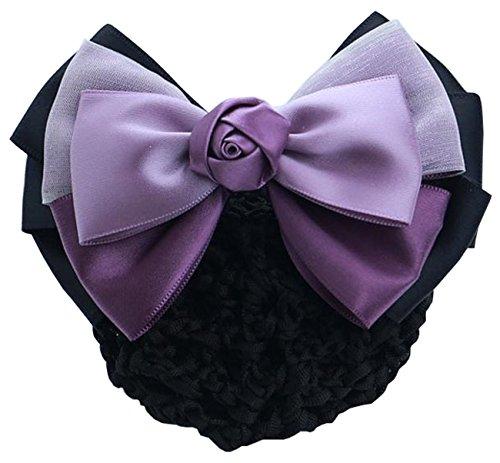 Kissing U Frauen Haar Zubehör Haarnetz Haarclip mit Weiße Gaze Rose Lila + Malvenfarben