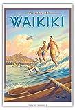 Pacifica Island Art Surf Waikiki - Wellenreiter Hawaii - Diamond Head Krater - Vintage Retro Hawaii Reise Plakat Poster von Kerne Erickson - Kunstdruck - 33cm x 48cm