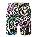 KLING Color Zebra Hommes/Garçons Casual Bain à Séchage Rapide Ensemble Pantalon de Plage Taille Élastique avec Poches,M