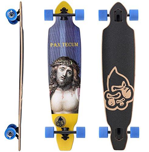 BIKESTAR Canadian Maple Drop Through Flush Cut Pro Longboard Skateboard für Kinder, Erwachsene, Anfänger ab 12-14 Jahre | 75mm Downhill/Freeride/Race Edition | Pax Tecum Design
