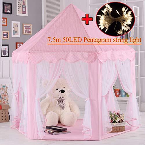 MYMM Kinderzelt, kinderspielzelt,Prinzessin Castle Spielzelt, Kinder Nook Zelte für Indoor & Outdoor Use, Tragetasche, Baby Geburtstagsgeschenk, Für Kinder im Alter unter 10 Jahren (Rosa) (Outdoor-glühen Dunklen In Der Farbe)