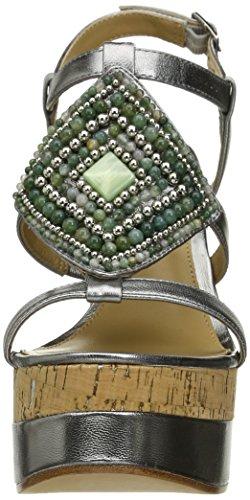 Lauren Ralph Lauren Mattie Cuir Sandales Compensés New Silver