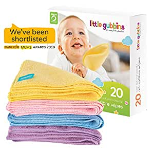 20 x Microfibre Baby Wipes by Little Gubbins | New Bigger Size | Pack of Reusable, Washable, Dry, Unscented Cloths | Ideal for Small Hands and Faces | Multipack of Rainbow Colours