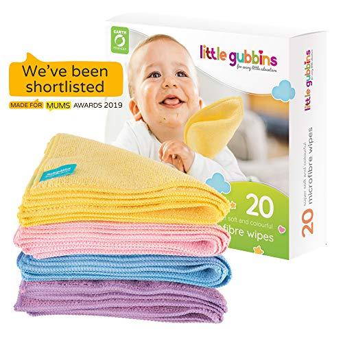 20 x MIKROFASER Baby-Reinigungstücher von Little Gubbins | Packung mit trockenen, unparfümierten Tüchern