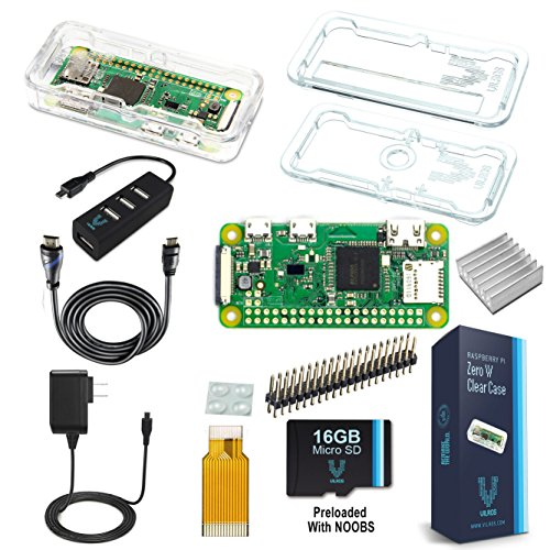 Vilros Raspberry Pi Zero W Complete Starter Kit - Clear Case Edition - Include Pi Zero W e 7 Accessori Essenziali