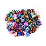 Polyhedral Dice Set, AOLVO zufällige mehrere Farbe 7-die Series Mini Acryl Würfel mit Samtbeutel für Dungeons DND D & D MTG Spiel–7Sets D4, D6, D8, 2x D10, D12, D20–105Teile–Zwei Farben Jeder