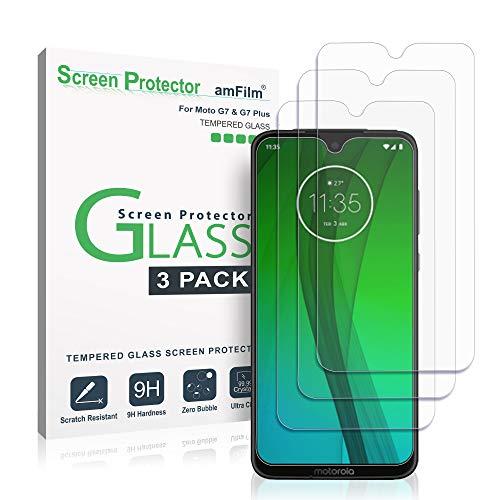 Moto G7 / G7 Plus Panzerglas Displayschutzfolie, amFilm Panzerglas (Gehärtetem Glas) für Motorola Moto G7 und G7 Plus (3 Stück)