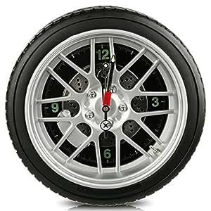 Relaxdays horloge murale pneu de voiture 35 cm avec 8 LED