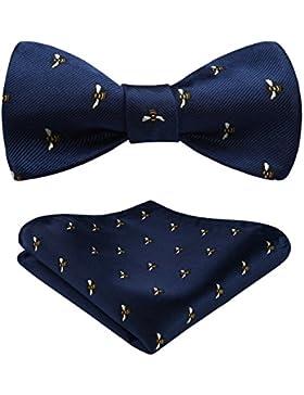 Hisdern Hombres Clasico Self Bow Corbata & Plaza de bolsillo Set Fiesta de bodas Accesorios
