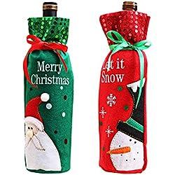 Noël Housse de bouteille de vin Sac cadeau de Noël de vin Noël Décorations de table (Lot de 2)