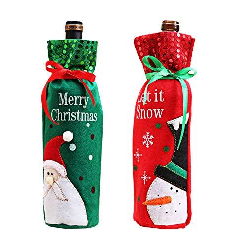 Bottiglie di vino di babbo natale e pupazzo di neve modello bottiglia di vino borsa per decorazioni di natale tabella decor (2 pack)