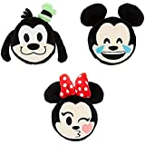 Disney Parks 4' Emoji Plush Set Of 3 Mickey Mouse Minnie Goofy Double Sided Stuffed Toys