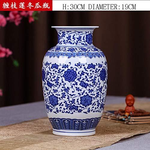 ZMSL Blau und Weiß Porzellan Keramik Vintage Tabletop Blumenvase Kürbis Form Möbel Handwerk Dekoration Kreative Geschenke, N
