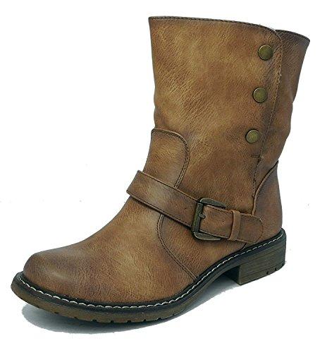 Damen-Stiefelette, Leder-Look, mit Pelz gefüttert, zum Herunterklappen, Biker-Ankle-Boots, Braun - hellbraun - Größe: 42 (Fold Boot Ankle Over)