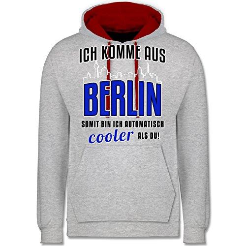 Städte - Ich komme aus Berlin - Kontrast Hoodie Grau Meliert/Rot