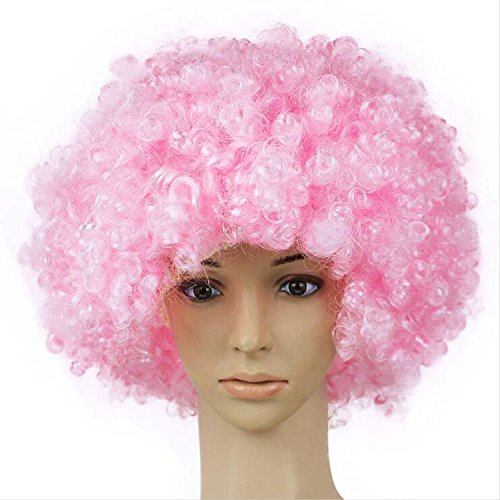 Afro Curly Perücken für Frauen kurze billige synthetische Perücke natürlich aussehende hitzebeständige Faser mit Free Wig Cap Net ( Color : Pink ) (Womens Billig Fancy Dress)