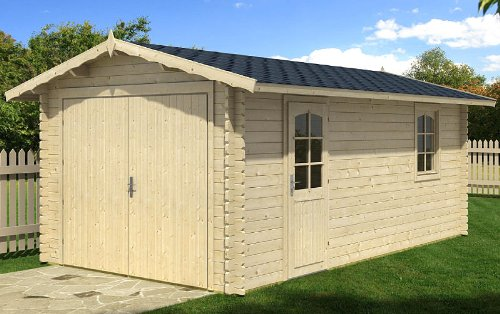 Blockhausgarage A01 - 320x570 cm - 40mm - Carport Gartenhaus - Inkl. Verglasung - Blockhaus-Garage