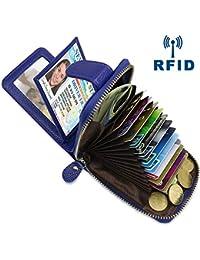Faneam Tarjeteros para Tarjetas de Credito Mujer Hombre RFID Cartera Tarjetero Cremallera Pequeño con 14 Ranuras