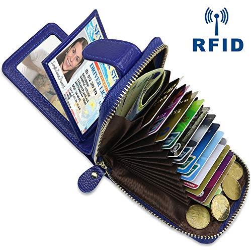 Faneam Leder kreditkartenetui RFID Schutz Kartenhalter Geldbörse mit 14 Fächer & 4 Fotofächer, Portemonnaie klein Reißverschluss kreditkartenmäppchen Leder Karten Geldbörse für Damen und Herren (Blau)
