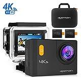 Apeman Caméra Sport 4K Wifi Caméra d'Action 20 MP Action Cam Etanche 30M, Caméscope Plongée Sous-Marine avec Grand Angle 170°, Ecran LCD 2.0'', avec 2 Batterie et inclut des Kits Complets d'Accessoires