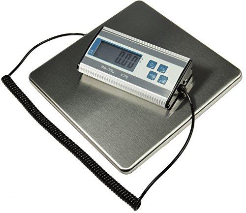 Bilancia digitale per pacchi, lettere, bilancia logistica, fino a 120 kg, i +/-20 g, superficie in acciaio inox, 27 x 27 cm, cavo a spirale 70-150 cm
