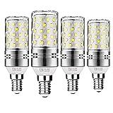 Gezee LED Silber Mais Glühbirnen E14 12W 100W Entspricht Glühbirnen Nicht dimmbar 6000K Kaltweiß 1200lm Kleine Edison-Schraube Kerze Leuchtmittel (4er-Pack)