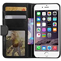 iPhone 6 Hülle, EnGive Ledertasche Schutzhülle Case Tasche mit Standfunktion und Karte Halter Für iPhone 6 (schwarz)