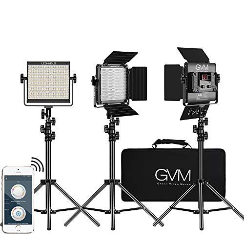 GVM LED Videoleuchten mit Satnd Kit CRI97 480 einstellbar 2300K-6800K APP Drahtlose Steuerung LED Videoleuchten für Studio YouTube Fotografie Porträt Außen Interview Kamera Leuchten Studio-beleuchtung