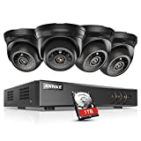 ANNKE Security Camera System Smart HD 1080P Lite 4+1 Channels DVR Recorder +1TB Surveillance HDD w/ 4x 720P HD Outdoor Dome Camera, All-weather Adaptation, Email Alert with Images, Mobile App: ANNKE View