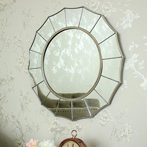 Gran Art Deco espejo de pared de madera de plata