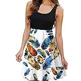 Sanahy Womens Dress Sale, Summer Casual Sleveless Print Dress Beach Vintage Boho Summer Short Mini Dress(Multicolor 2,10)