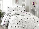 égyptien Parure de lit simple 2pièces Housse de couette en lin ruban Blanc Animal Noir Flamingo Bird Filles ado Cadeau de Noël moderne Contempo