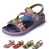 Gracosy Sandales Femmes Plates, Chaussures de Ville Été Sandales Cuir Semelle Léger Confortable à Talons Plats 2019 pour Randonnée Pieds Larges