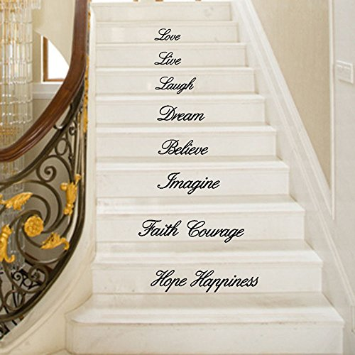Vovotrade® Stickers Muraux Décoratifs Autocollants Direct Live Laugh Love  Decal Removable Wall Stickers Stair Decor