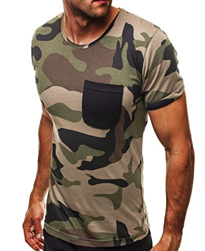 Mode-Persönlichkeit Casual Camouflage Herren Shirt Sport T-Shirt (Kinder Weste Camouflage)