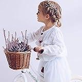 HB.YE Hand gewebte Fahrradkorb Vintage Korb Kinder Rattan Korb Fahrrad Vorderkorb Lenkerkorb Radkorb mit Braunen Lederriemen (Braun)