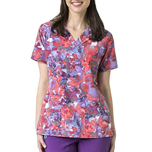 Carhartt Scrubs C12114 Women's Force Cross-Flex V-Neck Media Scrub Top - Medium Regular - Southern Belle Hibiscus