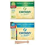 Lot de 2 Pochettes Canson 24x32 : Papier à Dessin'C' à grain blanc + Papier à Dessin Couleur Mi-teintes Vives + 1 Règle en bois Chat Blumie