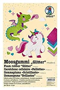 Ursus 8500099 Glitter Modern, 6 Hojas de gomaespuma Surtidas en 6 Colores Diferentes, Aprox. 20 x 30 cm, 2 mm de Grosor, Autoadhesivo, Multicolor