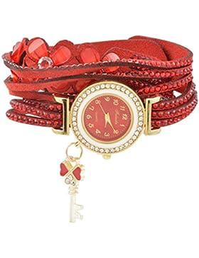 Souarts Damen Armbanduhr Blumen Form Band Deko Uhr mit Batterie Charm Geschenk Rot