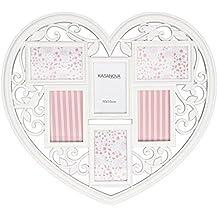 TrAdE shop Traesio® Fotos a forma de corazón blanco de madera con 6fotos 60x 60cm Foto Amor