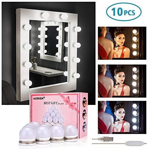 Luci Da Specchio, AUSHEN Kit Luci per Specchio Stile Hollywood per Trucco con 10 Lampadine LED Dimmerabili Lampada da