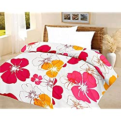 Frabjous Floral Polycotton Double Bed Reversible AC Dohar/Blanket/Quilt (White) Diwali Gift for Home