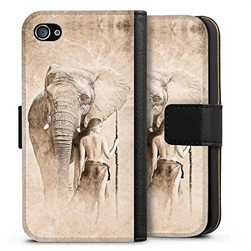 Apple iPhone X Silikon Hülle Case Schutzhülle Elefant Frau Wüste Sideflip Tasche schwarz